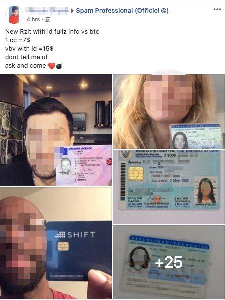 grupo de vendas de cartões falsos no facebook