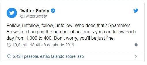 limite de seguidores no twitter reduzido