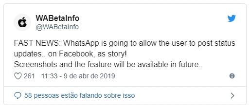 noticia do WhatsApp partilhar stories