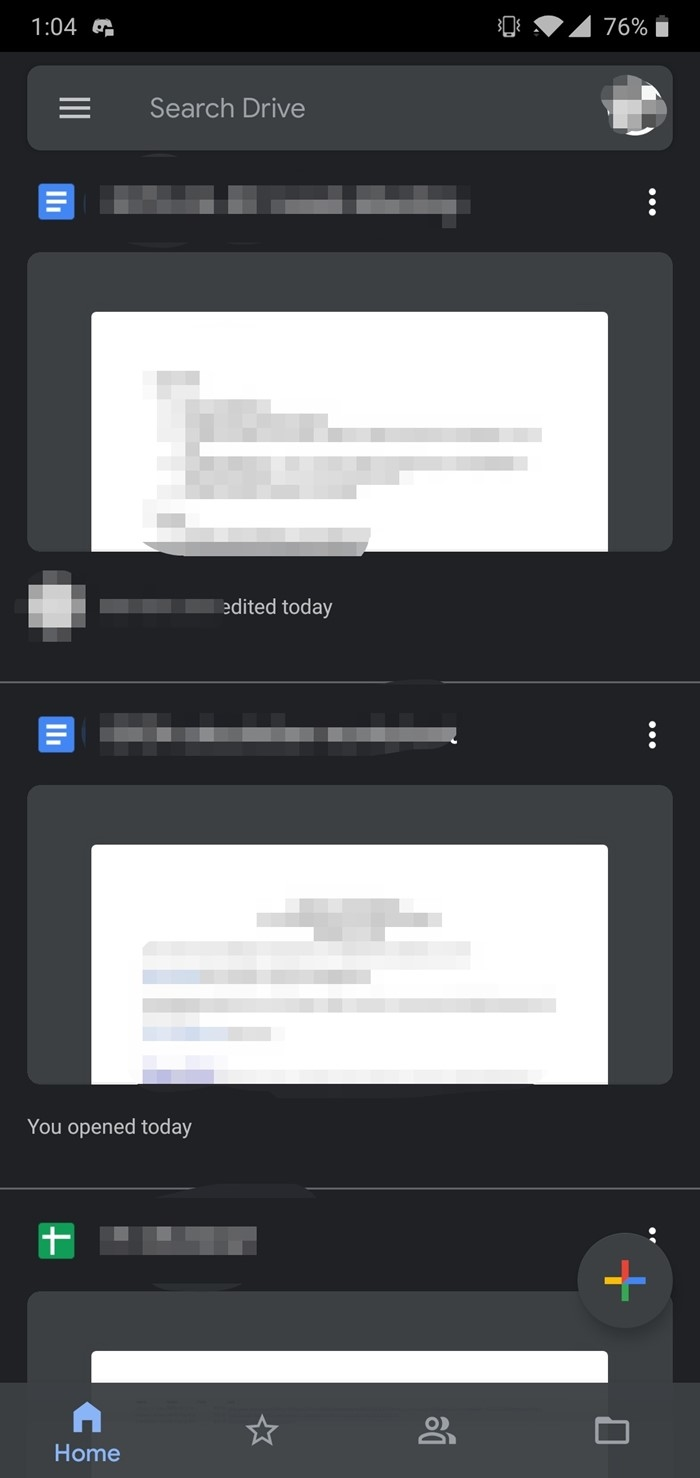 modo noturno no google drive android