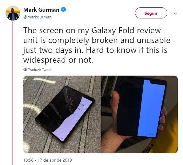 falha ecrã galaxy fold