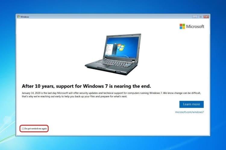 mensagem de exemplo sobre upgrade windows 7
