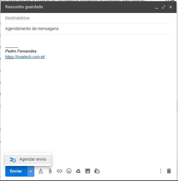 agendar envio de mensagens gmail