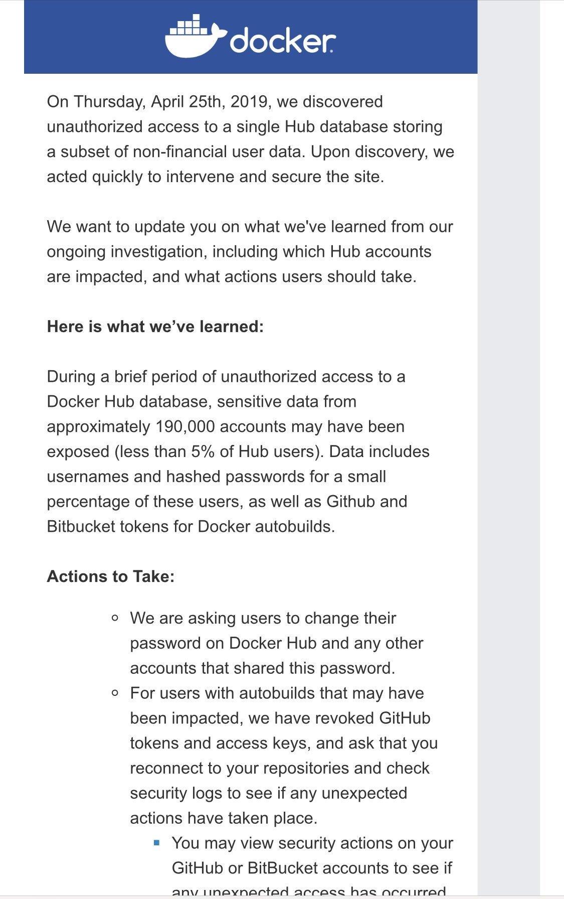 mensagem do email da docker