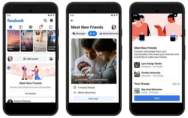 aplicação móvel do facebook novo design