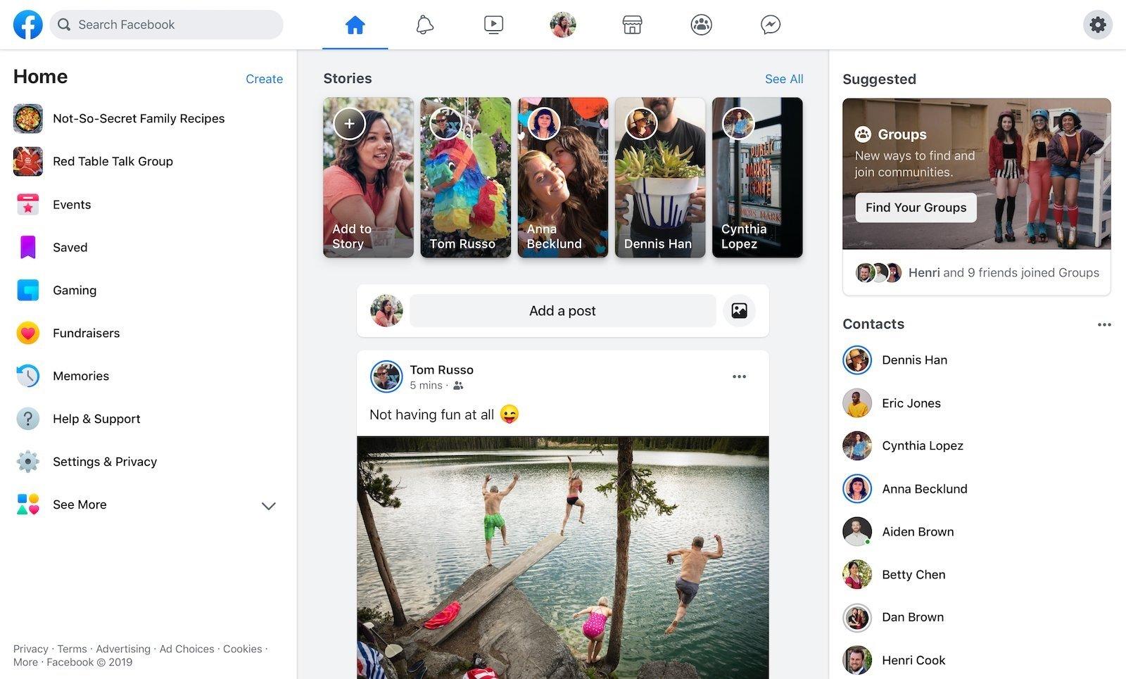 Facebook nova interface