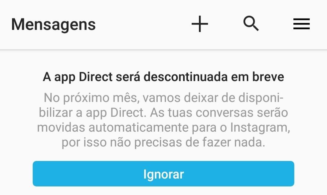 mensagem na app do direct