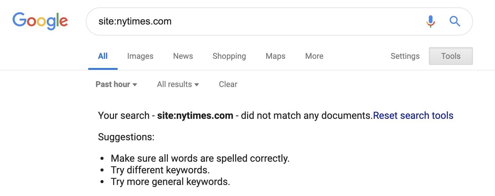 pesquisa do Google sem resultados