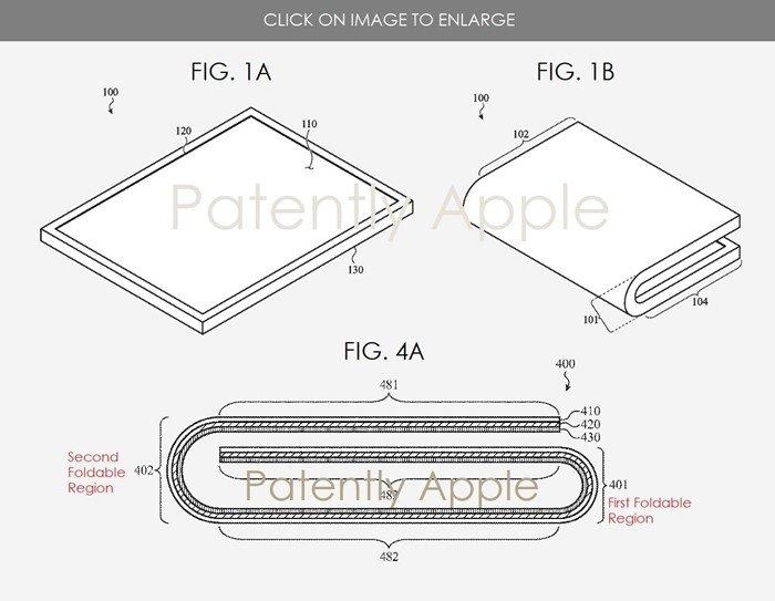 imagem da patente de dispositivo dobrável da apple