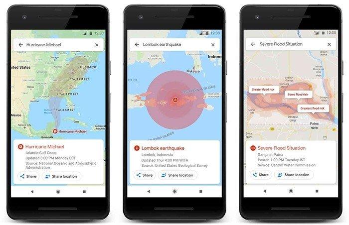 imagem do google maps em ambientes de desastres naturais