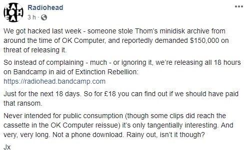 mensagem do facebook da radiohead