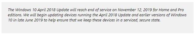 nota da Microsoft sobre atualizações forçadas