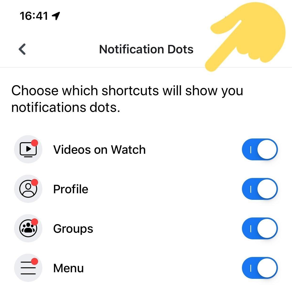 notificações com pontos no facebook