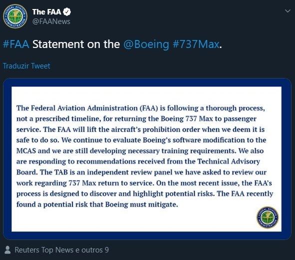 tweet da FAA