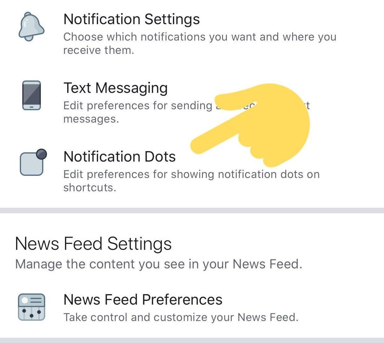 opção dentro da app do Facebook