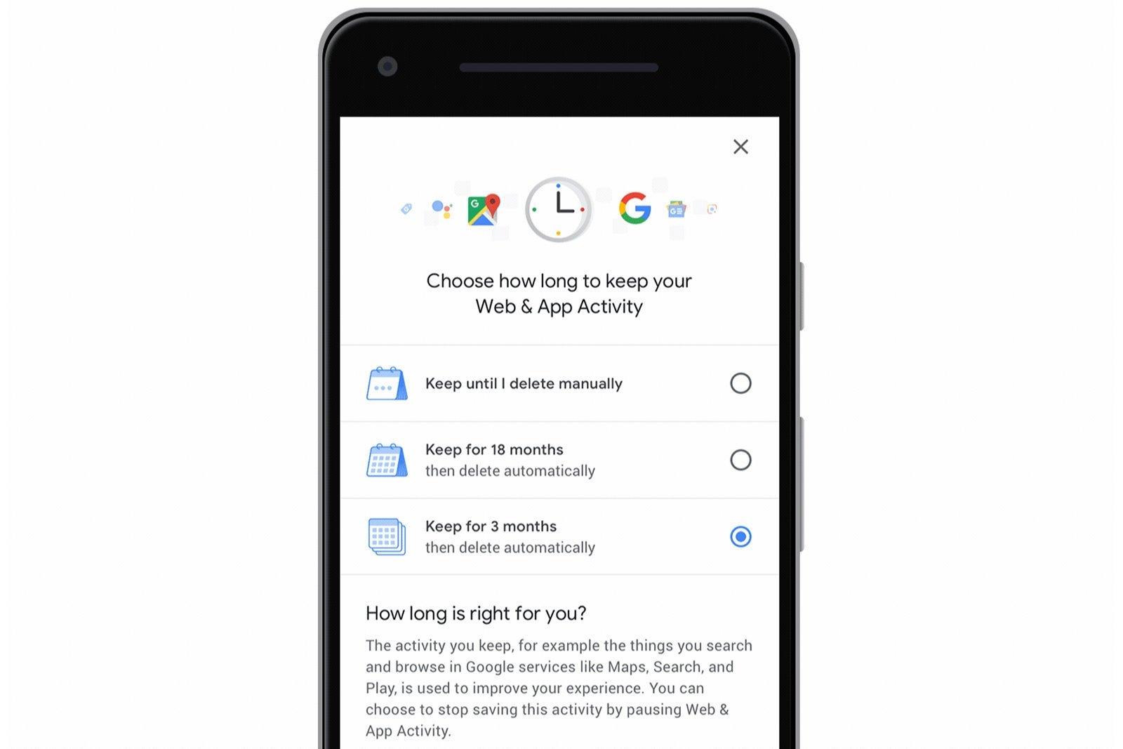 Google auto delete dados localização