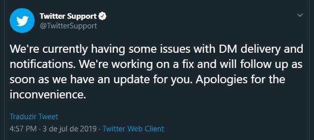 Twitter mensagem de confirmação da falha