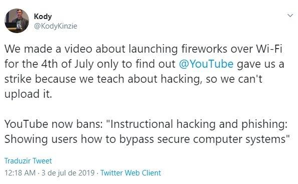 mensagem do youtuber sobre bloqueio de vídeos