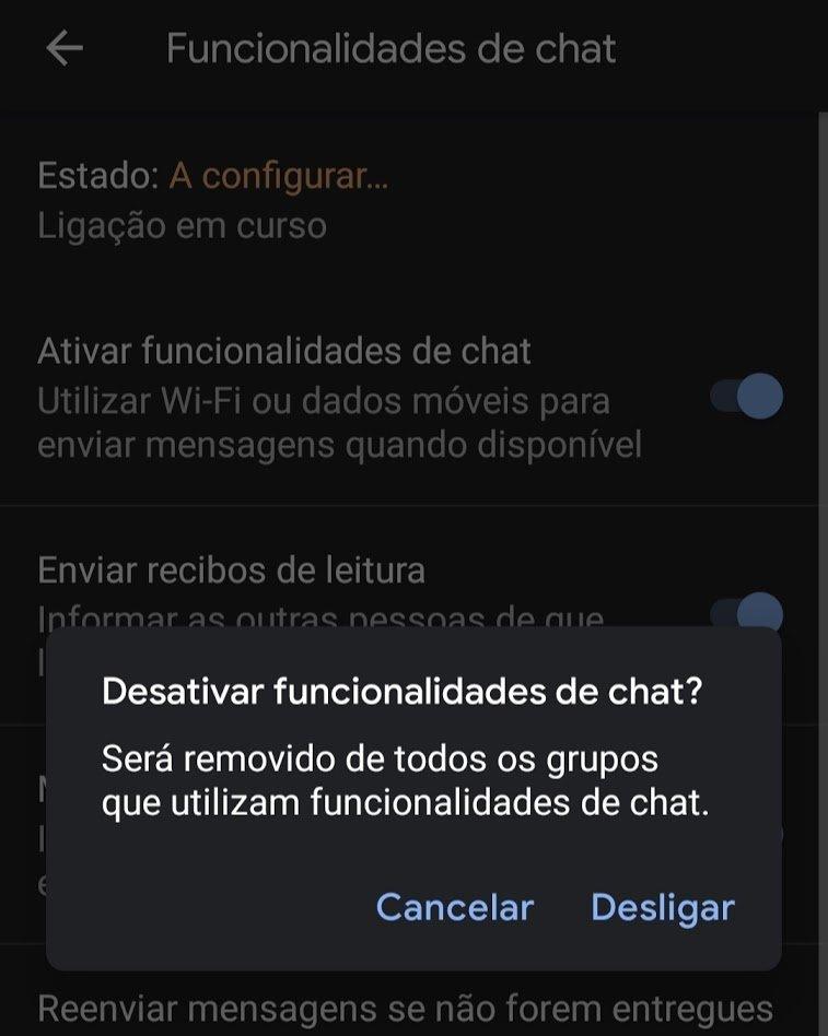 funcionalidade chat mensagens google