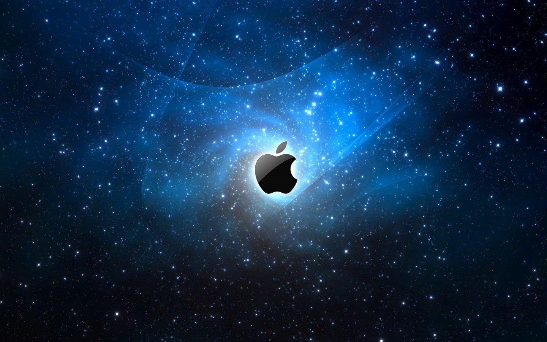 apple logo azul espaço