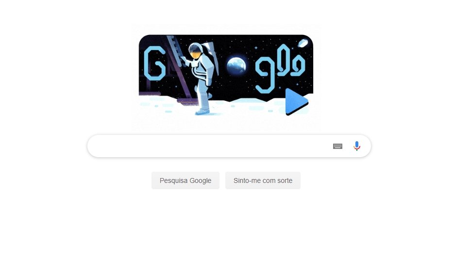 doodle da Google sobre missão espacial apollo 11