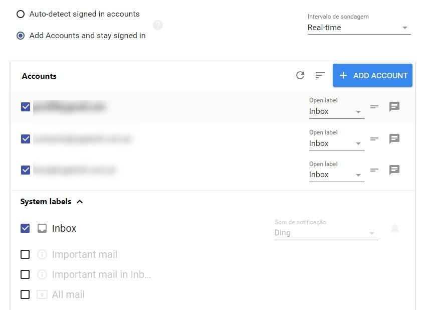 múltiplas contas email