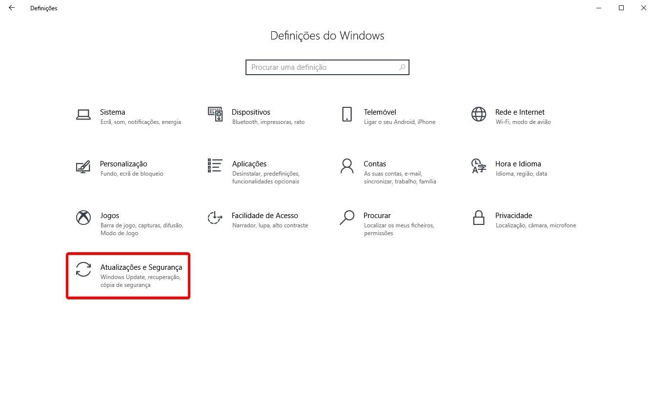 windows definições