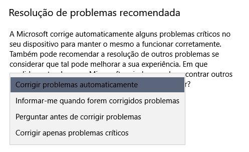 definições de correção automática windows 10