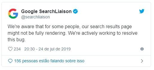 confirmação do bug da google