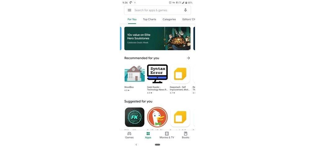 nova imagem play store google