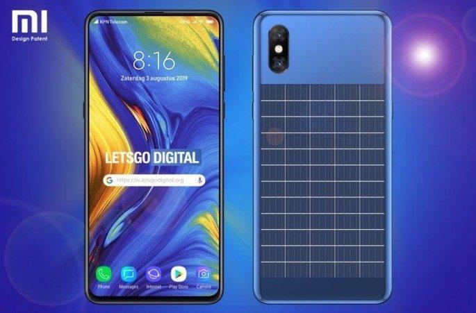 Xiaomi smartphone com carregamentos solar