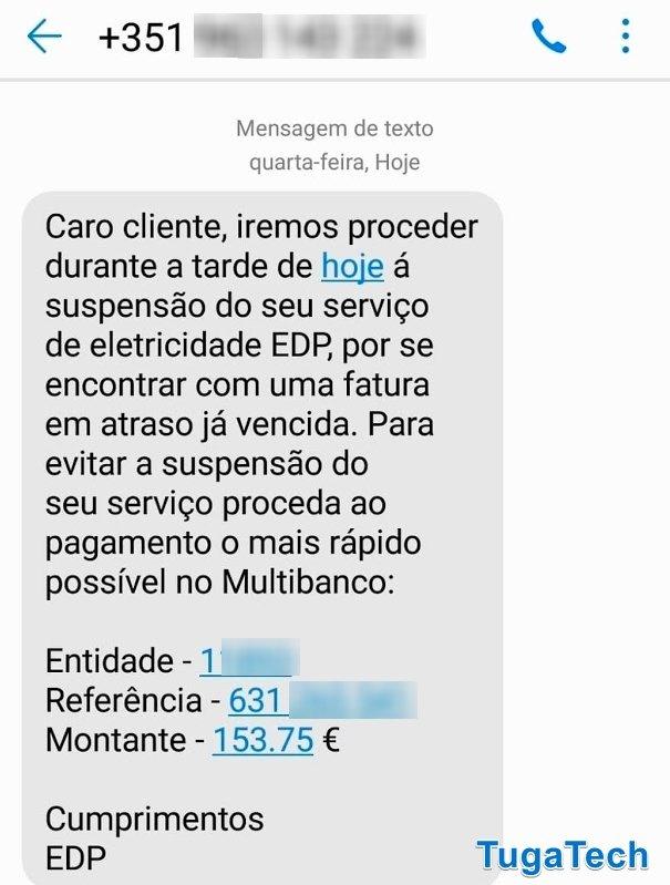 exemplo de mensagem sms edp
