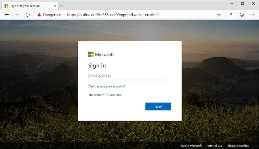 página de phishing microsoft