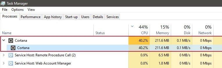 erro cortana Windows 10