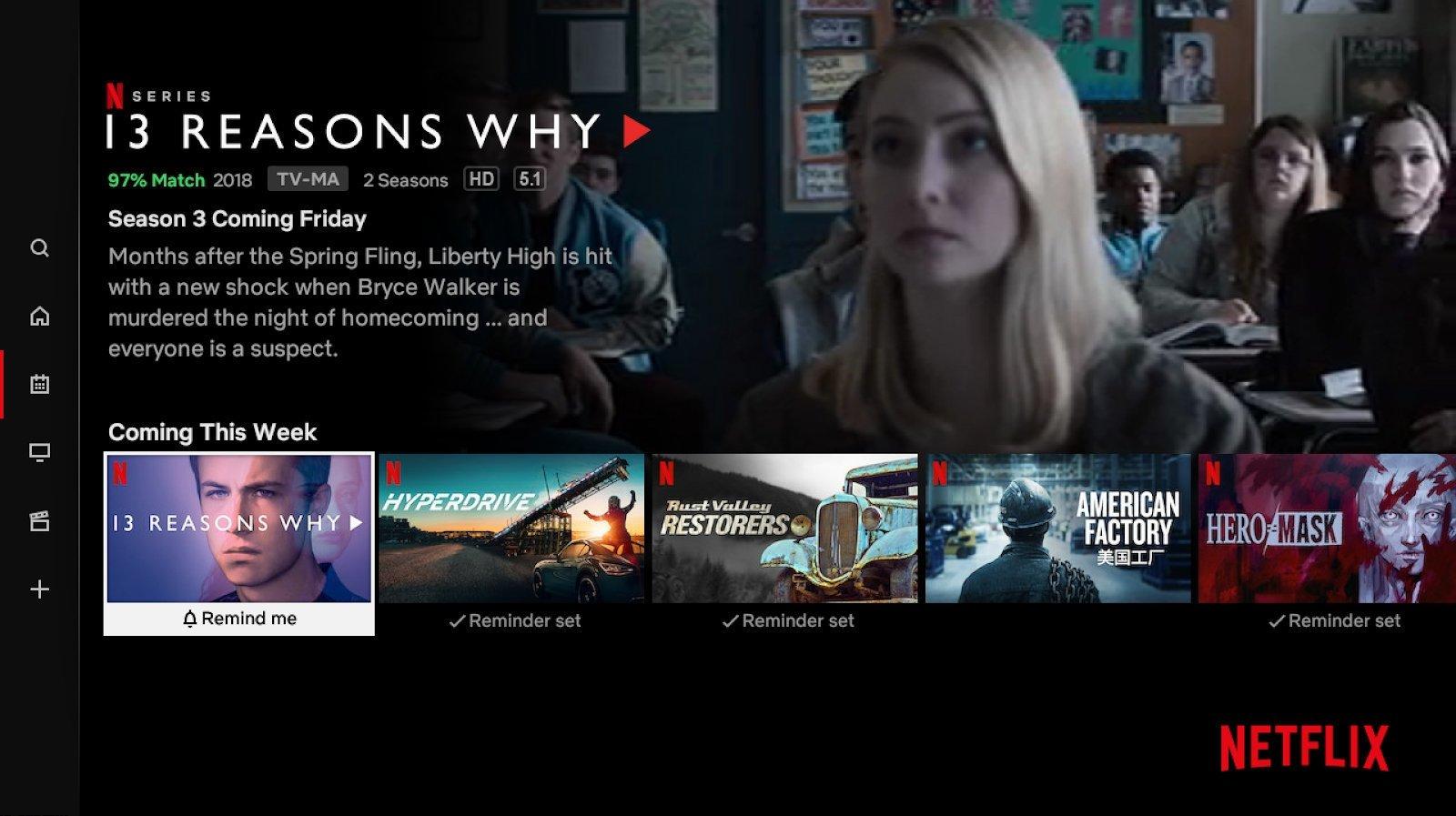 reminder set Netflix