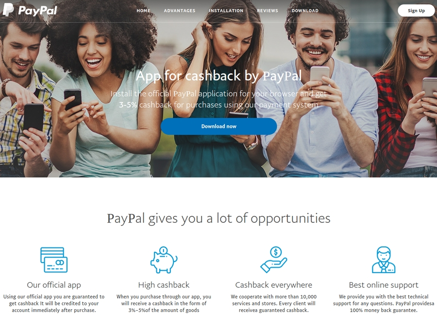 falso site do Paypal