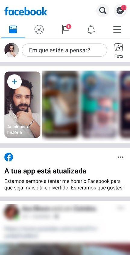 aplicação facebook novo design