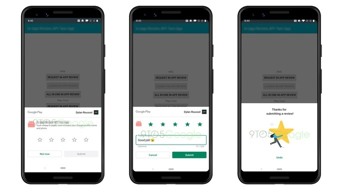 google play Store nova avaliação