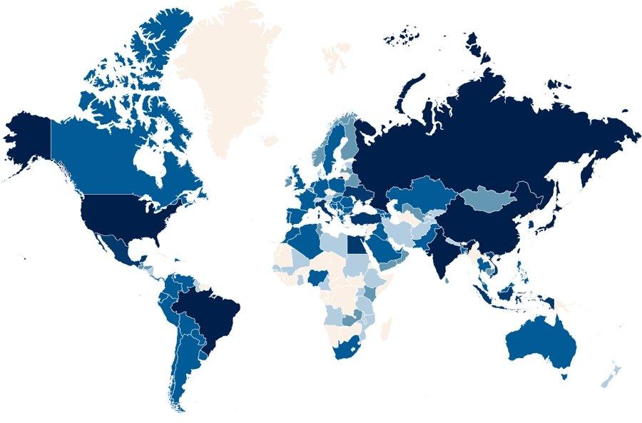 lista países infetados