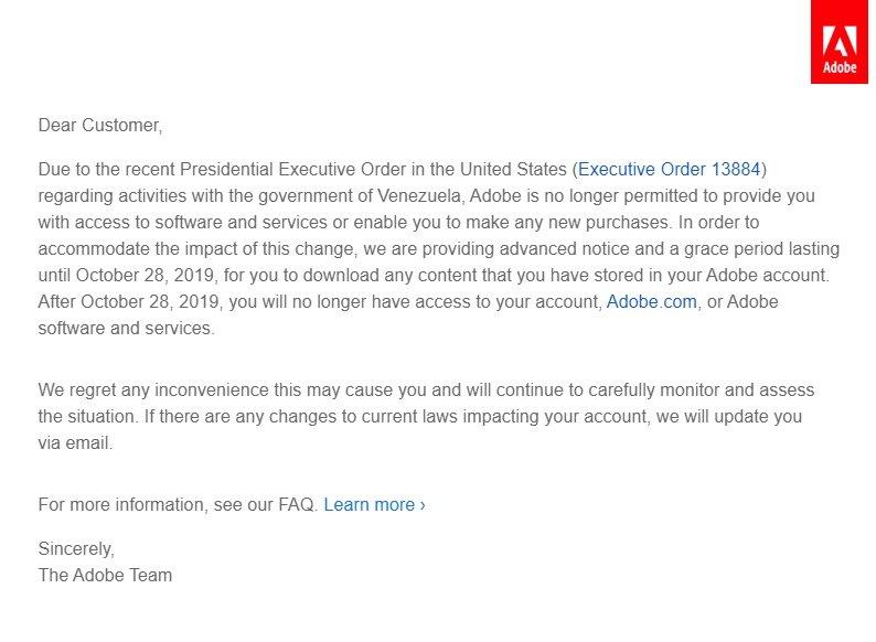 exemplo de email recebido adobe