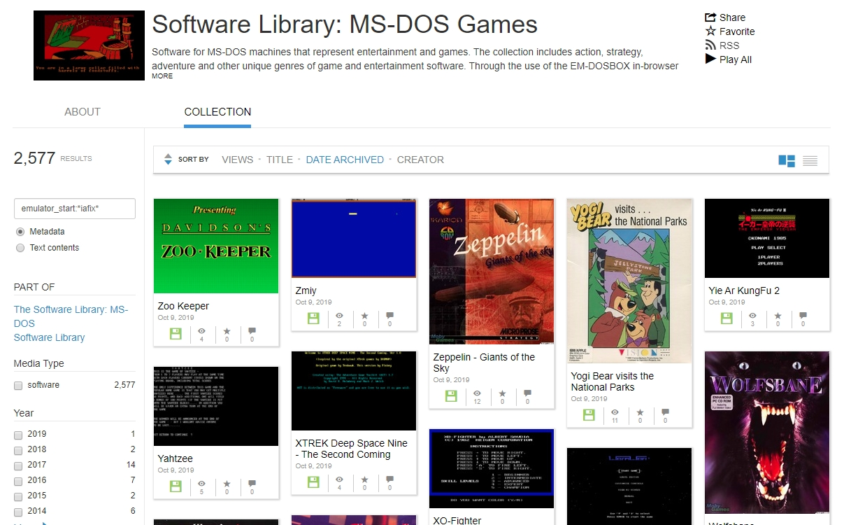 Internet Archive ms-dos games