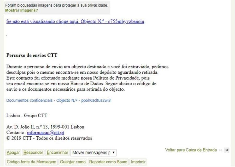 exemplo de email phishing
