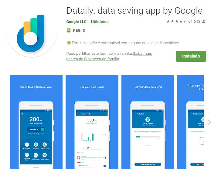 google play Store datally