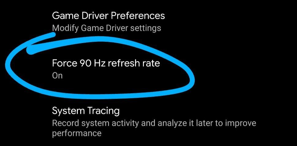 taxa de atualização forçada android