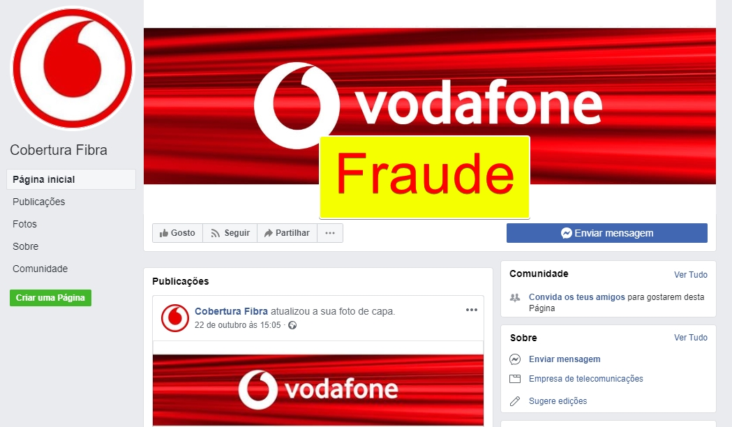 Fraude Vodafone facebook