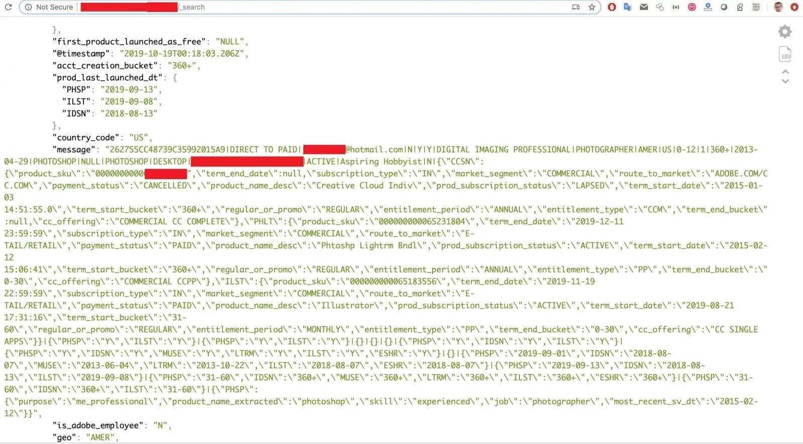 exemplo dos dados nos registos