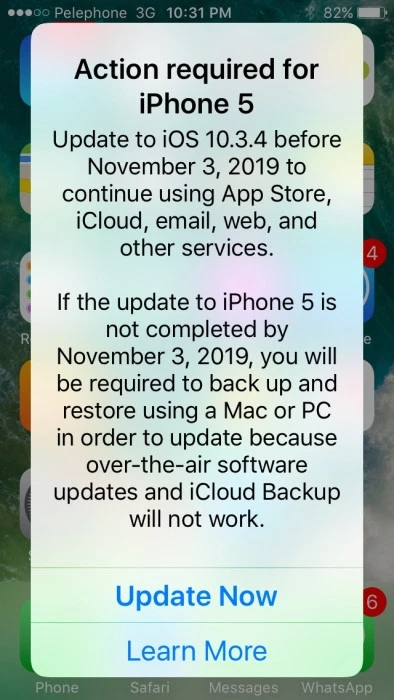 alerta da apple