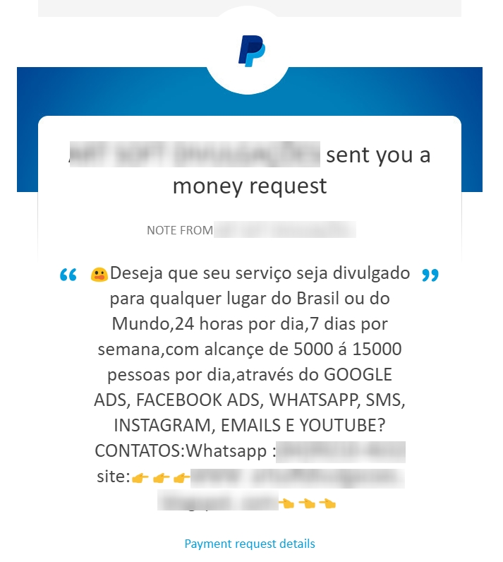 exemplo email spam paypal