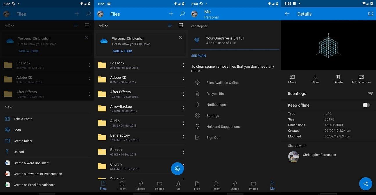 Modo escuro OneDrive android