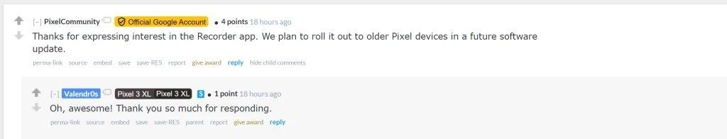 google recorder reddit confirmação